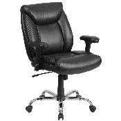 HERCULES Series Big & Tall 400 lb. Rated Black LeatherSoft Deep Tufted Ergonomic Task Office Chair with Adjustable Arms