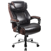 Big & Tall Office Chair - Brown LeatherSoft Executive Swivel Office Chair with Headrest and Wheels