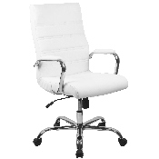 High Back Office Chair - White LeatherSoft Office Chair with Wheels and Arms
