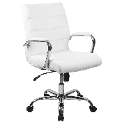 Mid-Back White LeatherSoft Executive Swivel Office Chair with Chrome Base and Arms