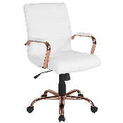 Mid-Back White LeatherSoft Executive Swivel Office Chair with Rose Gold Frame and Arms