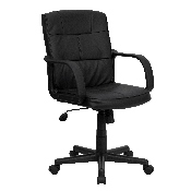 Mid-Back Black LeatherSoft Swivel Task Office Chair with Arms, GO-228S-BK-LEA-GG