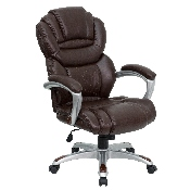 High Back Brown LeatherSoft Executive Swivel Ergonomic Office Chair with Arms