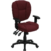 Mid-Back Burgundy Fabric Multifunction Swivel Ergonomic Task Office Chair with Pillow Top Cushioning and Arms