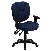 Mid-Back Navy Blue Fabric Multifunction Swivel Ergonomic Task Office Chair with Pillow Top Cushioning and Arms