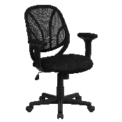 Y-GO Office Chair Mid-Back Black Mesh Swivel Task Office Chair with Arms