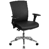 HERCULES Series 24/7 Intensive Use 300 lb. Rated Black LeatherSoft Multifunction Ergonomic Office Chair with Seat Slider