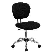 Mid-Back Black Mesh Padded Swivel Task Office Chair with Chrome Base