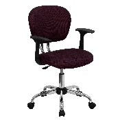 Mid-Back Burgundy Mesh Padded Swivel Task Office Chair with Chrome Base and Arms