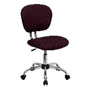 Mid-Back Burgundy Mesh Padded Swivel Task Office Chair with Chrome Base