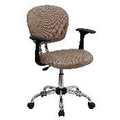 Mid-Back Coffee Brown Mesh Padded Swivel Task Office Chair with Chrome Base and Arms