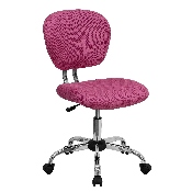 Mid-Back Pink Mesh Padded Swivel Task Office Chair with Chrome Base