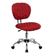 Mid-Back Red Mesh Padded Swivel Task Office Chair with Chrome Base
