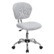 Mid-Back White Mesh Padded Swivel Task Office Chair with Chrome Base