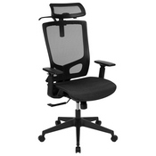 Ergonomic Mesh Office Chair with Synchro-Tilt, Pivot Adjustable Headrest, Lumbar Support, Coat Hanger and Adjustable Arms in Black
