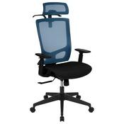Ergonomic Mesh Office Chair with Synchro-Tilt, Pivot Adjustable Headrest, Lumbar Support, Coat Hanger & Adjustable Arms-Blue/Black