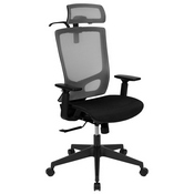 Ergonomic Mesh Office Chair with Synchro-Tilt, Pivot Adjustable Headrest, Lumbar Support, Coat Hanger & Adjustable Arms-Gray/Black