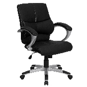 Mid-Back Black LeatherSoft Contemporary Swivel Manager's Office Chair with Arms