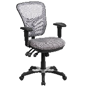 Mid-Back Gray Mesh Multifunction Executive Swivel Ergonomic Office Chair with Adjustable Arms