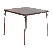 Brown Folding Card Table - Lightweight Portable Folding Table with Collapsible Legs