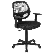 Flash Fundamentals Mid-Back Black Mesh Swivel Ergonomic Task Office Chair with Arms, BIFMA Certified