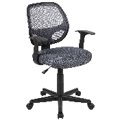 Flash Fundamentals Mid-Back Gray Mesh Swivel Ergonomic Task Office Chair with Arms, BIFMA Certified