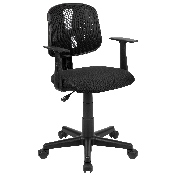Flash Fundamentals Mid-Back Black Mesh Swivel Task Office Chair with Pivot Back and Arms, BIFMA Certified