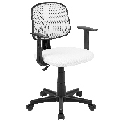 Flash Fundamentals Mid-Back White Mesh Swivel Task Office Chair with Pivot Back and Arms, BIFMA Certified