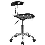 Vibrant Black and Chrome Swivel Task Office Chair with Tractor Seat