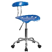 Vibrant Bright Blue and Chrome Swivel Task Office Chair with Tractor Seat