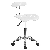 Vibrant White and Chrome Swivel Task Office Chair with Tractor Seat