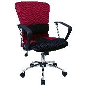 Mid-Back Red Mesh Swivel Task Office Chair with Adjustable Lumbar Support and Arms