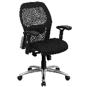Mid-Back Black Super Mesh Executive Swivel Office Chair with Knee Tilt Control and Adjustable Lumbar & Arms