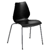 HERCULES Series 770 lb. Capacity Black Stack Chair with Lumbar Support and Silver Frame