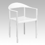 HERCULES Series 1000 lb. Capacity White Plastic Cafe Stack Chair