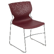HERCULES Series 661 lb. Capacity Burgundy Full Back Stack Chair with Gray Powder Coated Frame