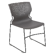 HERCULES Series 661 lb. Capacity Gray Full Back Stack Chair with Black Powder Coated Frame