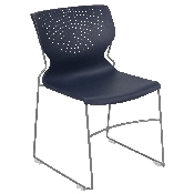 HERCULES Series 661 lb. Capacity Navy Full Back Stack Chair with Gray Powder Coated Frame