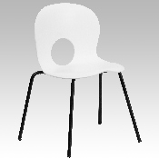 HERCULES Series 770 lb. Capacity Designer White Plastic Stack Chair with Black Frame