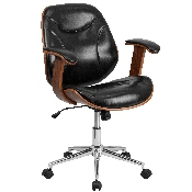 Mid-Back Black LeatherSoft Executive Ergonomic Wood Swivel Office Chair with Arms