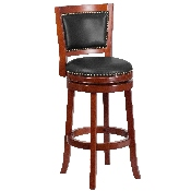 30'' High Dark Cherry Wood Barstool with Open Panel Back and Walnut LeatherSoft Swivel Seat