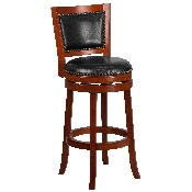 30'' High Light Cherry Wood Barstool with Open Panel Back and Black LeatherSoft Swivel Seat
