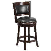 24'' High Cappuccino Wood Counter Height Stool with Panel Back and Black LeatherSoft Swivel Seat