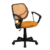 Low Back Orange Mesh Swivel Task Office Chair with Arms