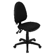 Mid-Back Black Fabric Multifunction Swivel Ergonomic Task Office Chair with Adjustable Lumbar Support