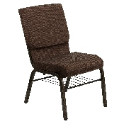 HERCULES Series 18.5''W Church Chair in Brown Fabric with Book Rack - Gold Vein Frame