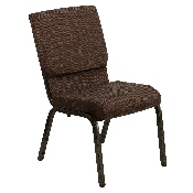 HERCULES Series 18.5''W Stacking Church Chair in Brown Fabric - Gold Vein Frame