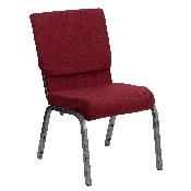 HERCULES Series 18.5''W Stacking Church Chair in Burgundy Fabric - Silver Vein Frame