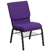 HERCULES Series 18.5''W Church Chair in Purple Fabric with Book Rack - Gold Vein Frame