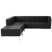 HERCULES Imagination Series Black LeatherSoft Sectional Configuration, 3 Pieces